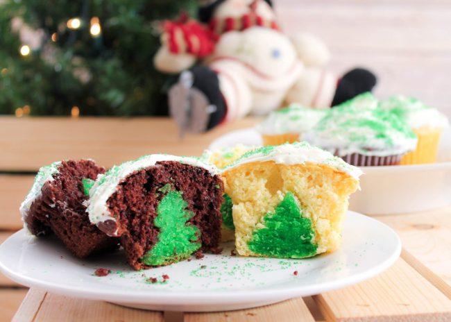 Surprise Christmas Tree Cupcakes