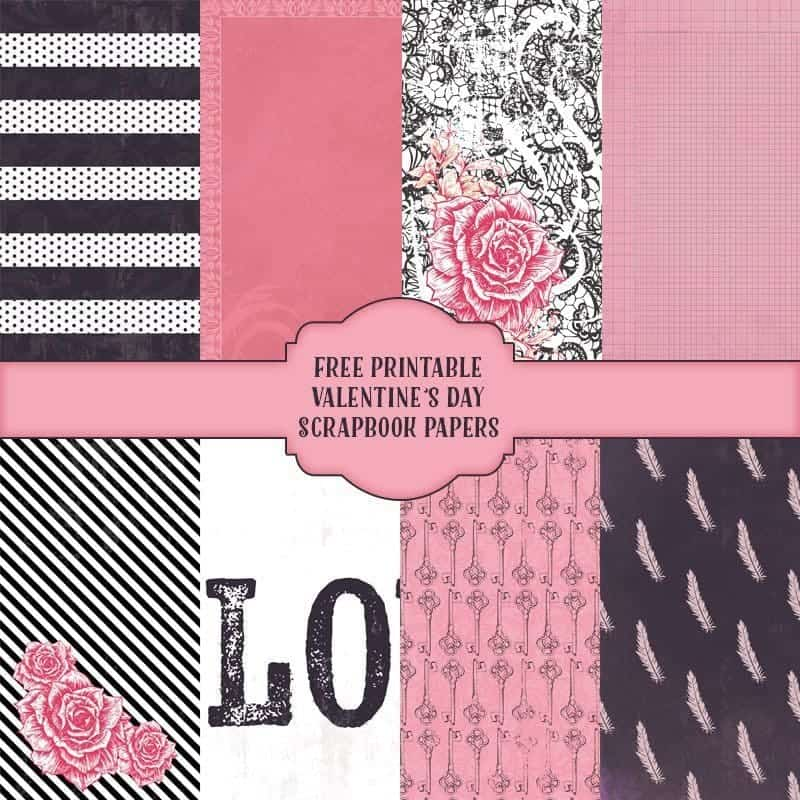 Free Printable Valentines Day Scrapbook paper