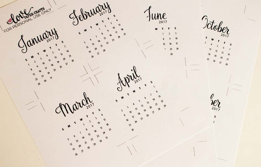 2017 Printable Calendar Journaling Cards - Love Paper Crafts