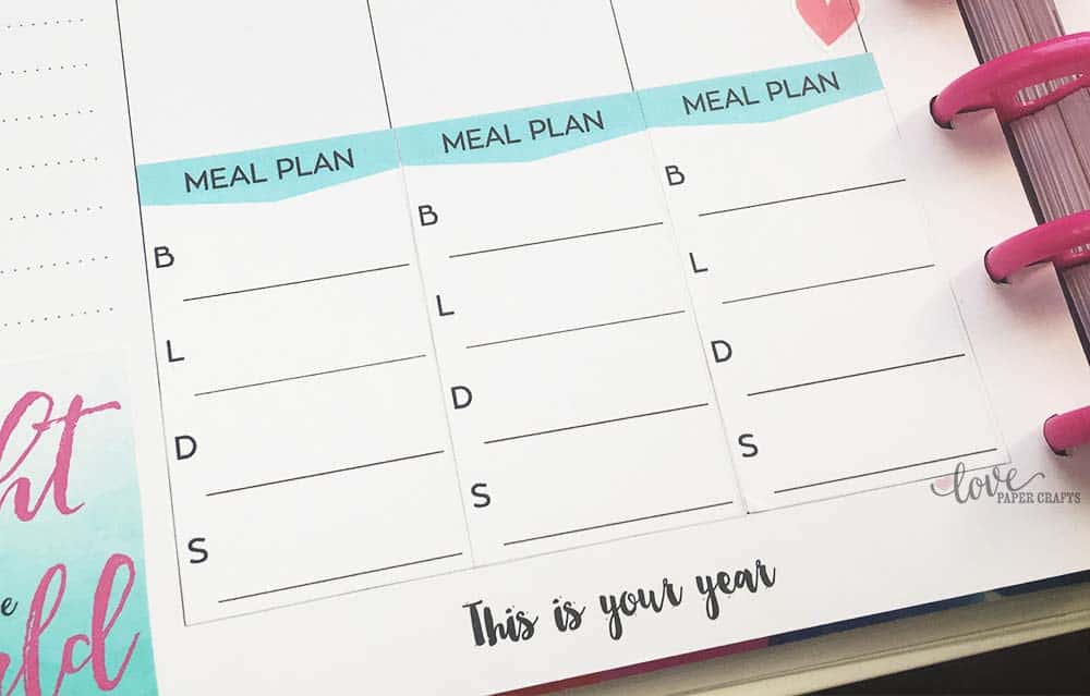 Printable Meal Planner Stickers for The Happy Planner - Love Paper