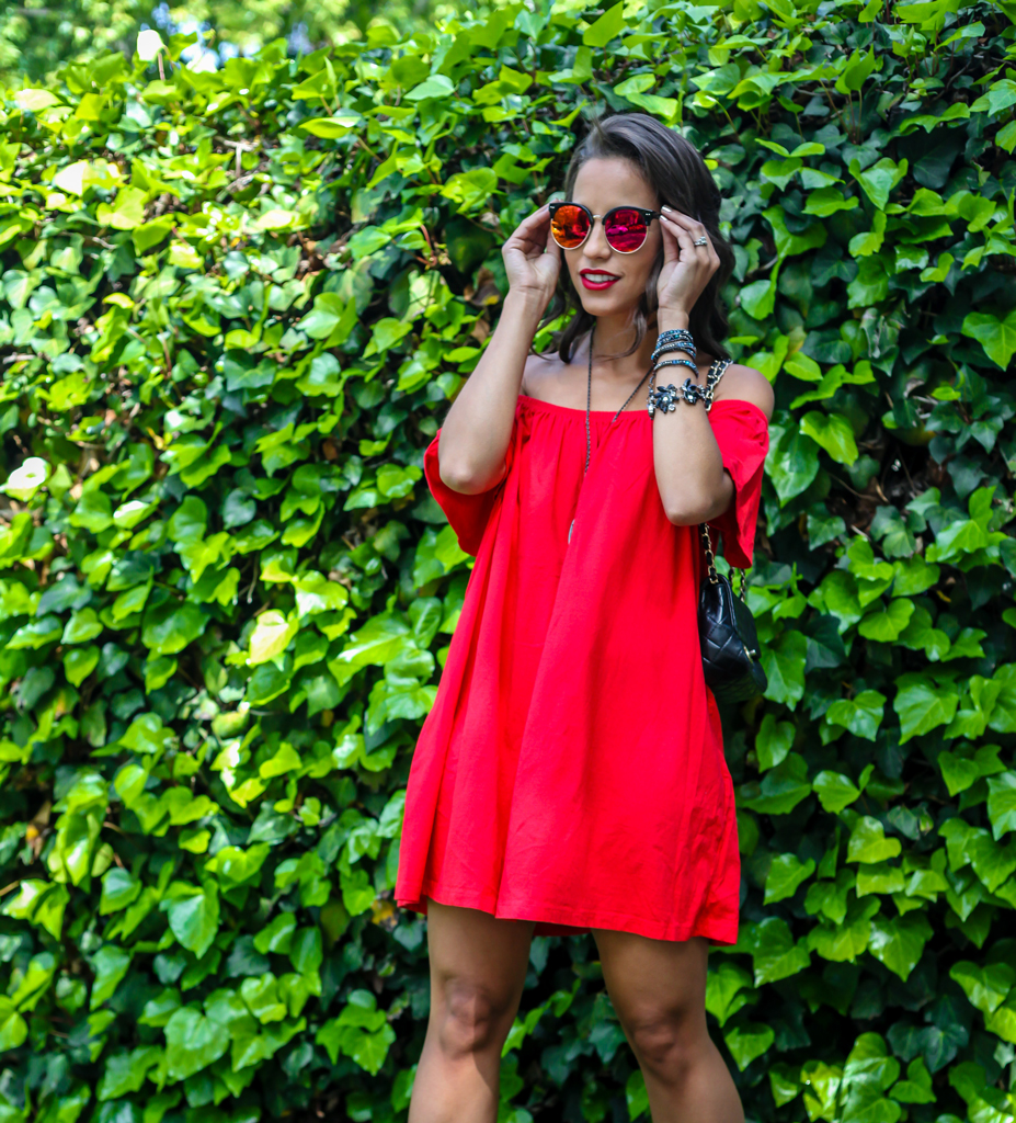 asos-red-shoulder-sundress-mirrored-sunglasses