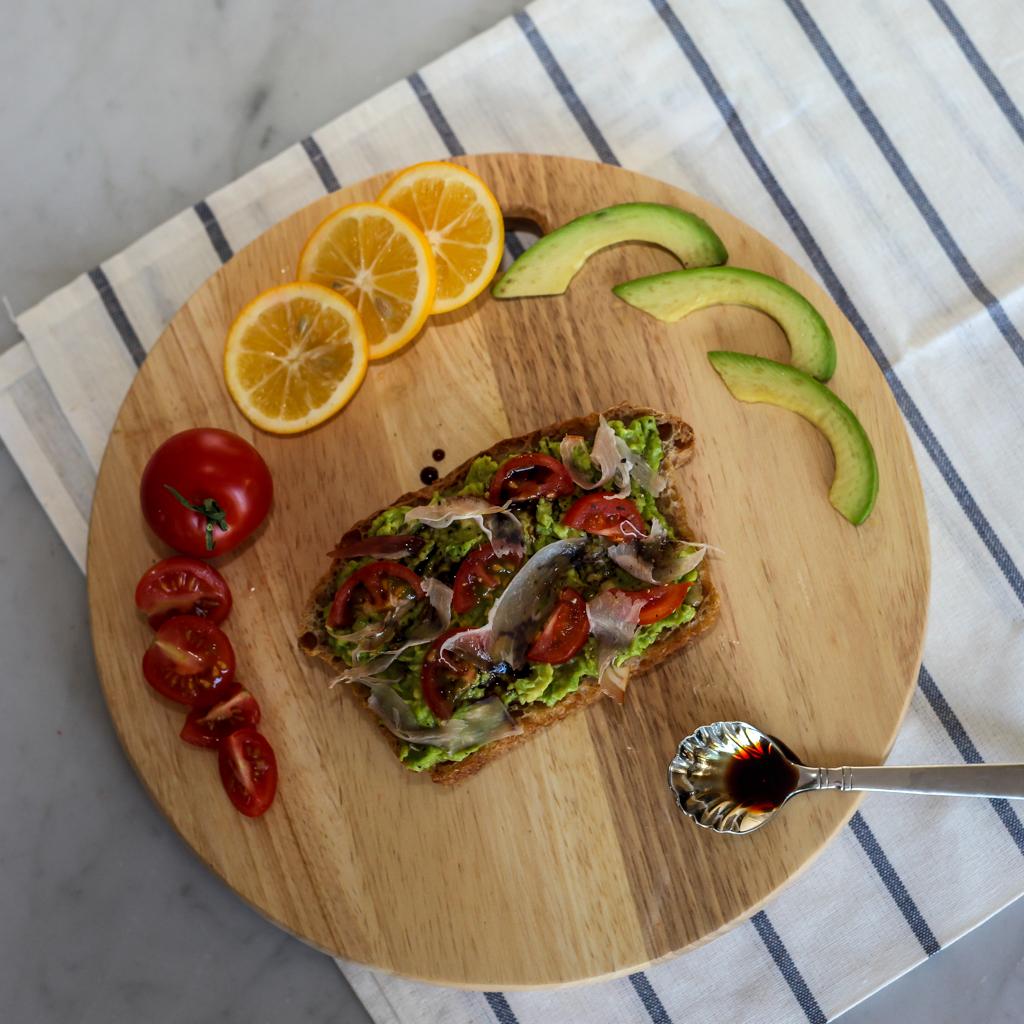 tomato prosciutto balsamic avocado toast