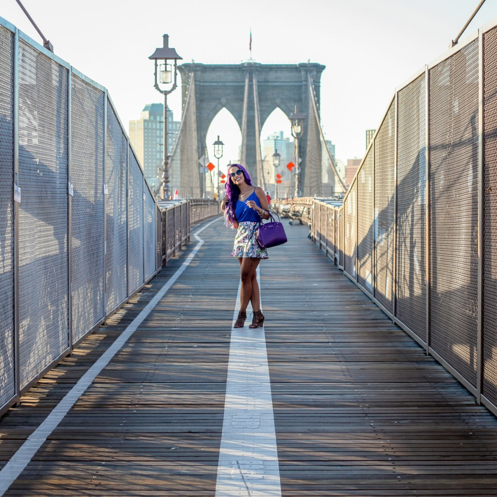 new york nyc bridge purple hair