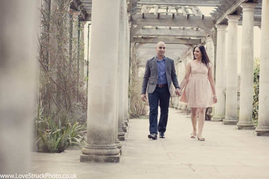 Pergola and Hill Gardens, Hampstead Heath Pre Wedding Photoshoot, London Engagement Shoot