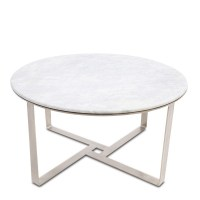 Henry Round Coffee Table Silver White - Love That Homewares