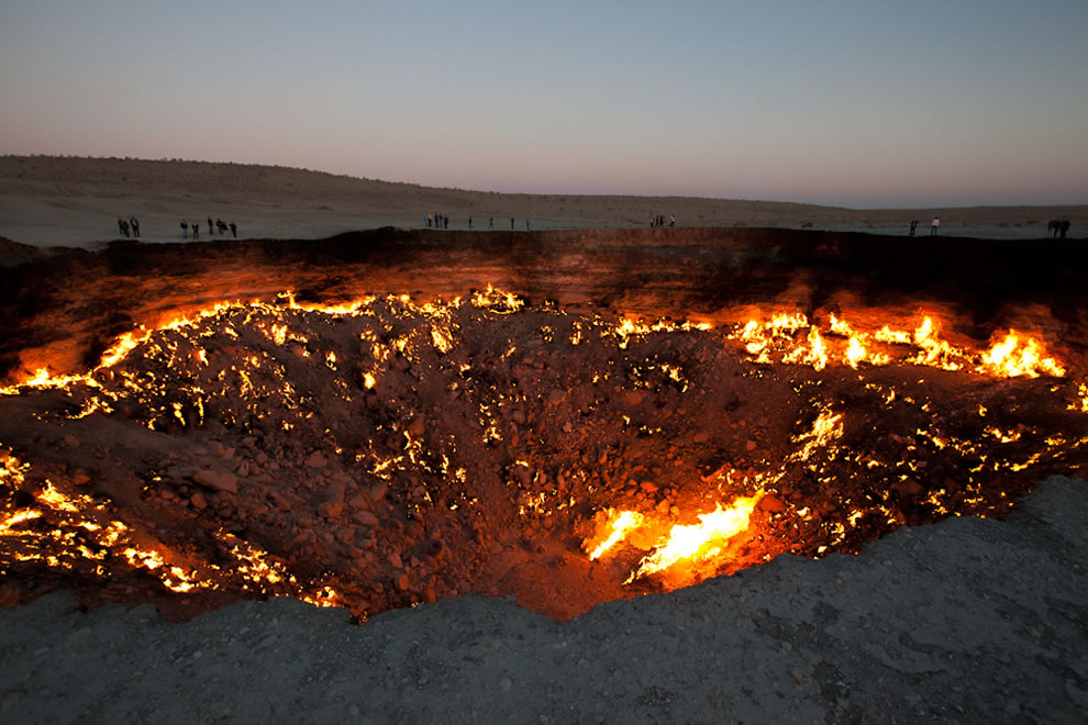 Flaming Door To Hell In The Devils Sandbox Along Infamous Silk Road