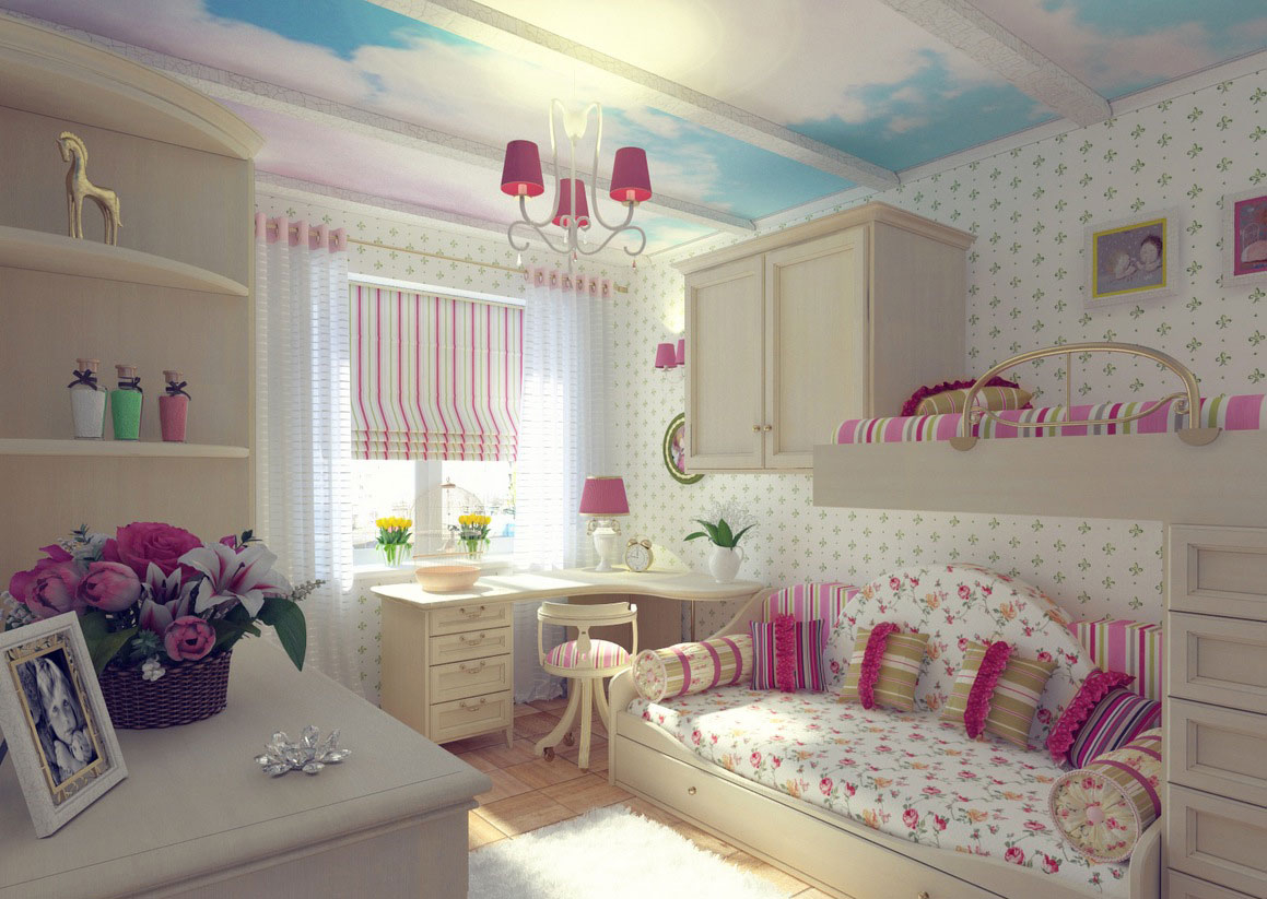 Pretty pink girl s bedroom