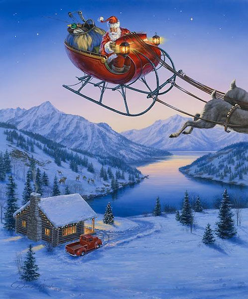 Desktop Wallpaper Wild And Free Quote Santa S Sleigh Flying Over Winter Cabin Darrel Bush
