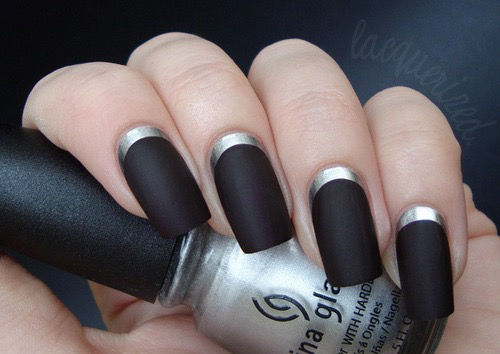 Matte Black Nails With Silver Bounds Pictures Photos And