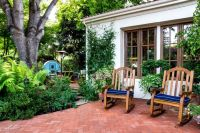 Brick Herringbone Patio With Rocking Chairs Pictures ...