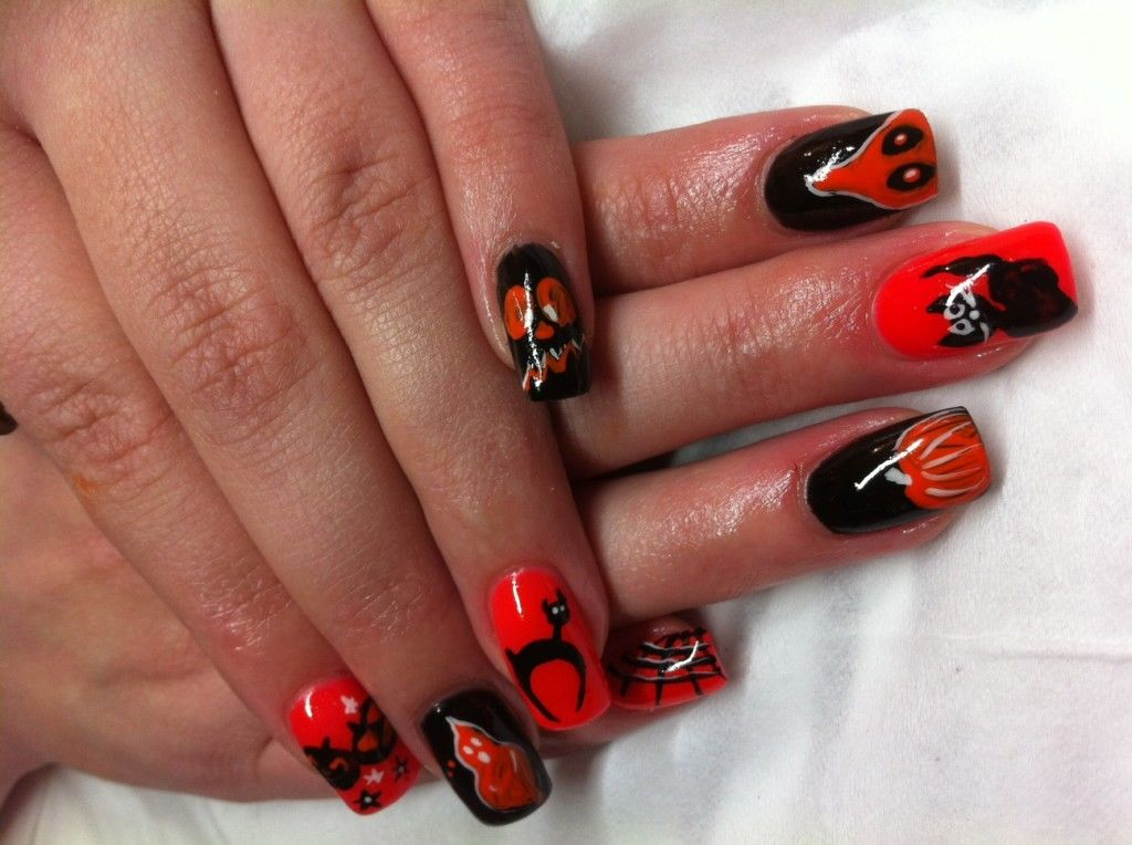 Orange And Black Halloween Nails Pictures Photos And
