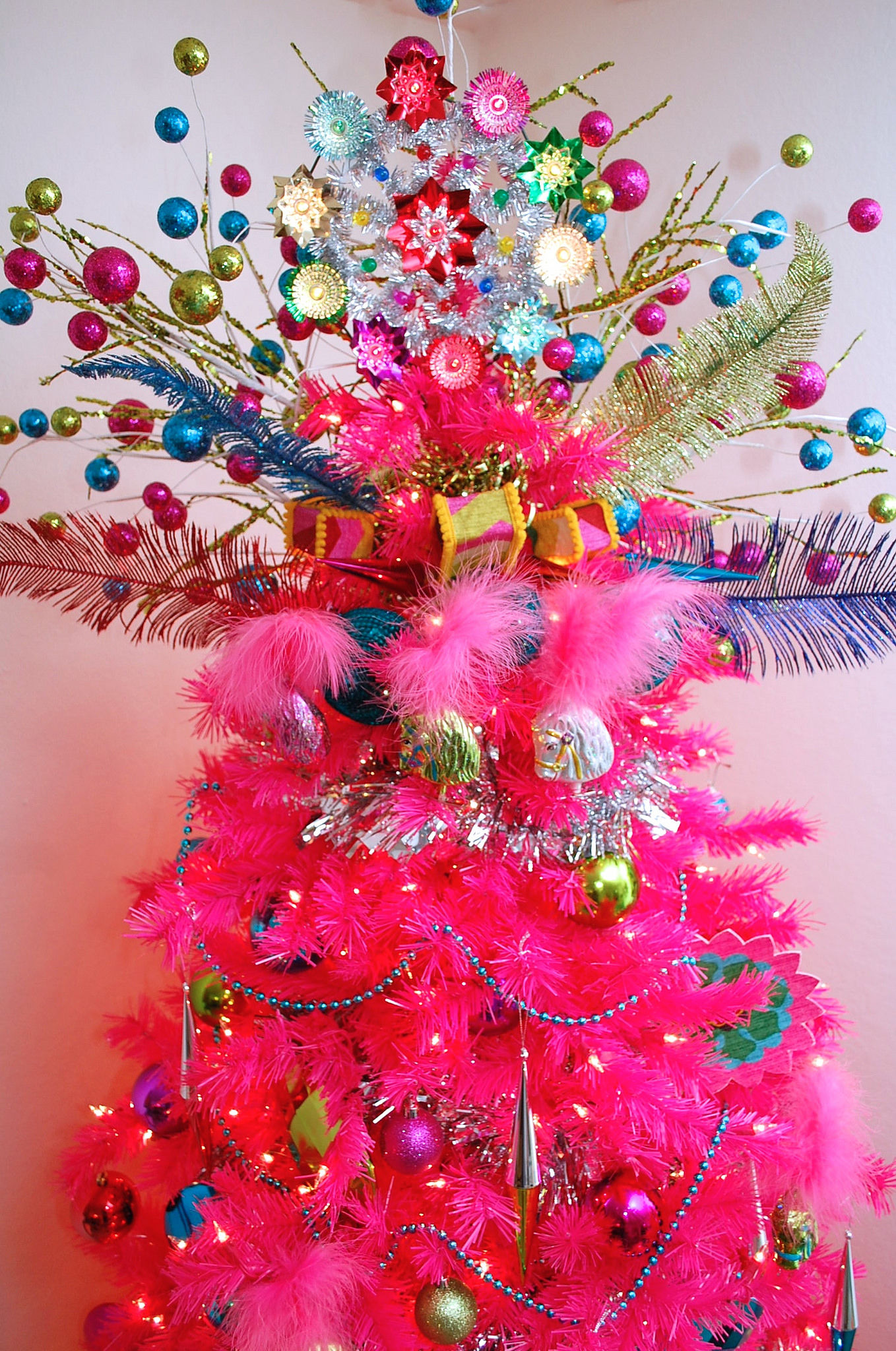 Cute Girly Wallpaper Quotes Hot Pink Christmas Tree With Colorful Tree Topper Pictures