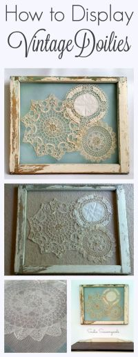 Display Vintage Doilies In Old Window Frames Pictures ...