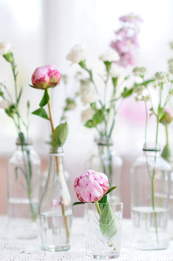 Peony Love Quote Wallpaper Flowers In Glass Bottles Pictures Photos And Images For