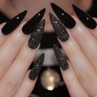 Black Glitter Stiletto Nails Pictures, Photos, and Images ...