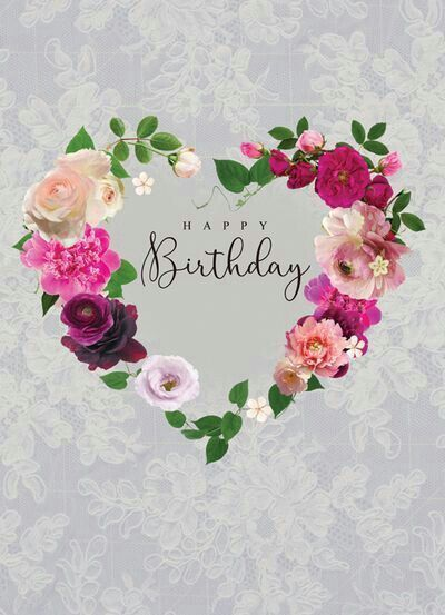 Happy Birthday With Heart Made Of Flowers Pictures, Photos, and