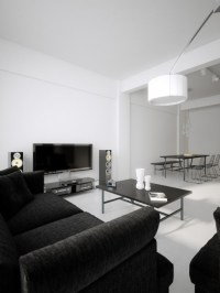 Black Sofa In All White Living Room Pictures, Photos, and ...