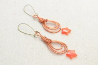 Wire Wrapping Orange Red Pipa Knot Earrings Pictures ...