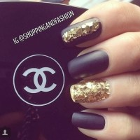 Gold Glitter And Black Matte Nails Pictures, Photos, and ...