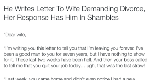 He Writes Letter To Wife Demanding Divorce, Her Response Has Him In - didn t get the job letter
