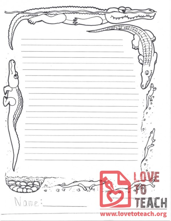 Lined Writing Paper Alligator LoveToTeachorg
