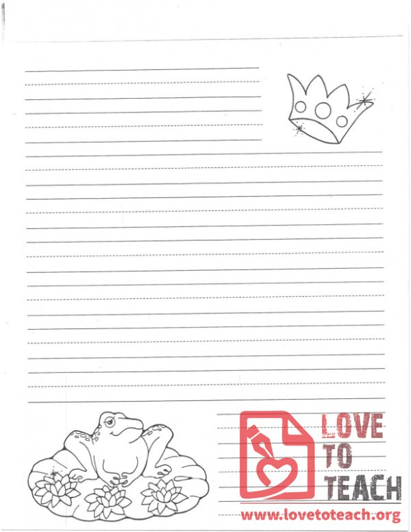 Lined Writing Paper Princess and Frog LoveToTeachorg