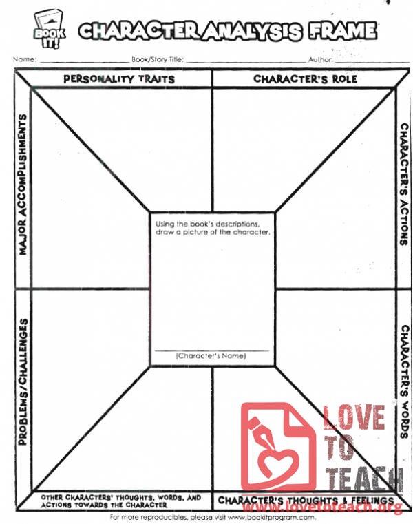 Character Analysis Worksheet LoveToTeachorg Free Printable - character analysis