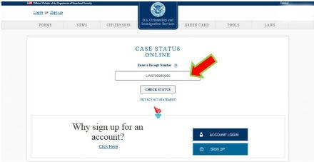 check uscis case status on line page