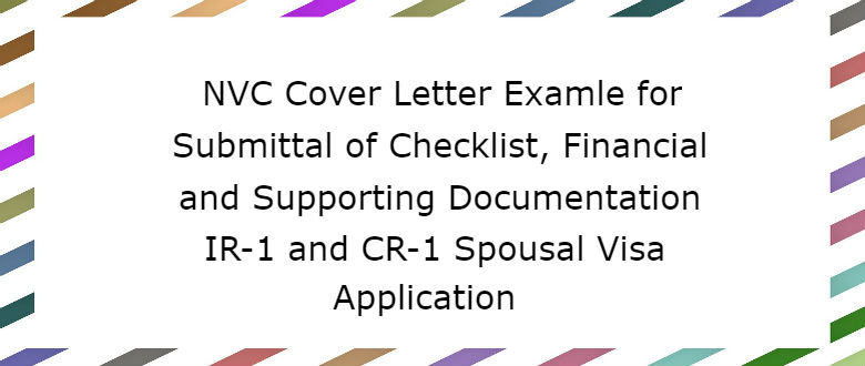 nvc cover letter for financialsupporting documentation lovevisalife