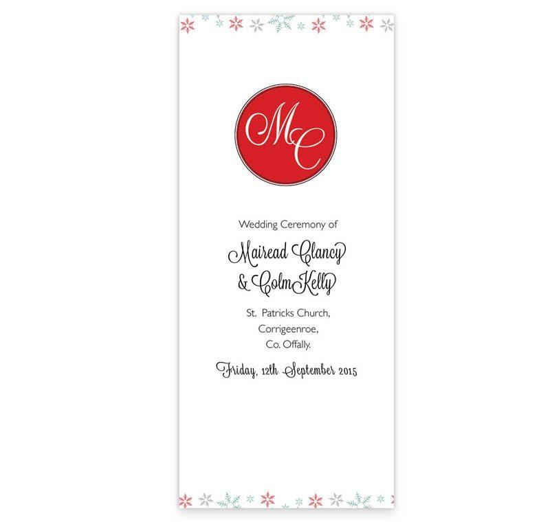 Winter Romance Wedding Ceremony Booklet - Loving Invitations