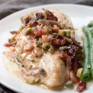 chicken breast with a piquant sauce of bacon, caper, lemon, olives ...