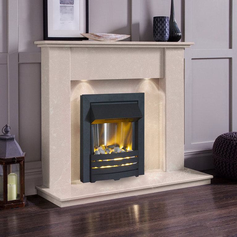 The Elgin Roman Stone Marble Electric Fireplace Suite