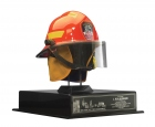 "Honorary New York Firefighter's Helmet — NY City Fire Department: Bestowed upon L. Ron Hubbard by city firefighters following the success of the New York Rescue Workers Detoxification Project, and inscribed: ""To our brother, L. Ron Hubbard, from your brothers at the New York City Fire Department, we honor you with this helmet, a symbol of our motto, 'to protect life and property' which the legacy of your technology embodies,2 August 2003."""