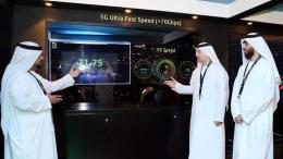 Etisalat executives demonstrate the telco's fastest 5G live trial reaching 71Gbps during Gitex Technology Week in Dubai on Sunday