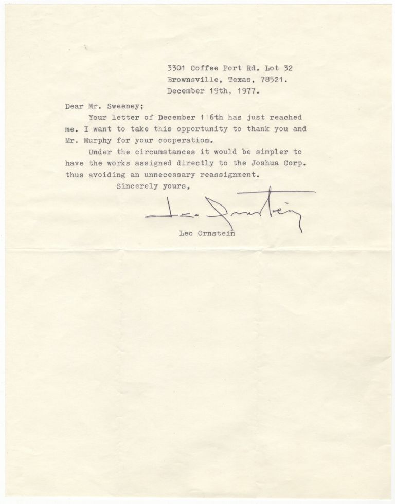 Typed letter signed to Mr Sweeney dated December 19, 1977 relative - assignment letter