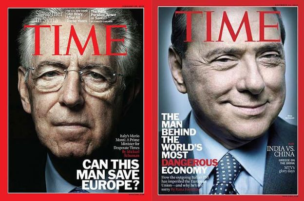 monti e berlusconi sul time