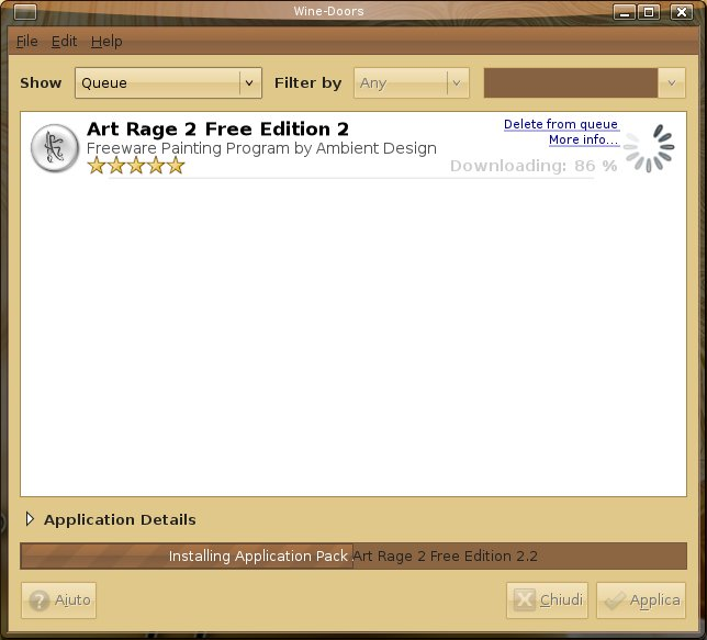 Installing ArtRage 2 Free with Wine Doors