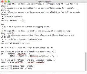 Inseriamo manualmente le nuove righe di codice in fondo al file wp-config.php