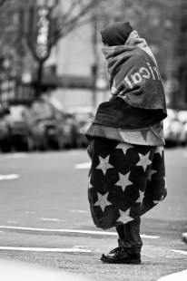 An homeless on the streets of New York. 2004