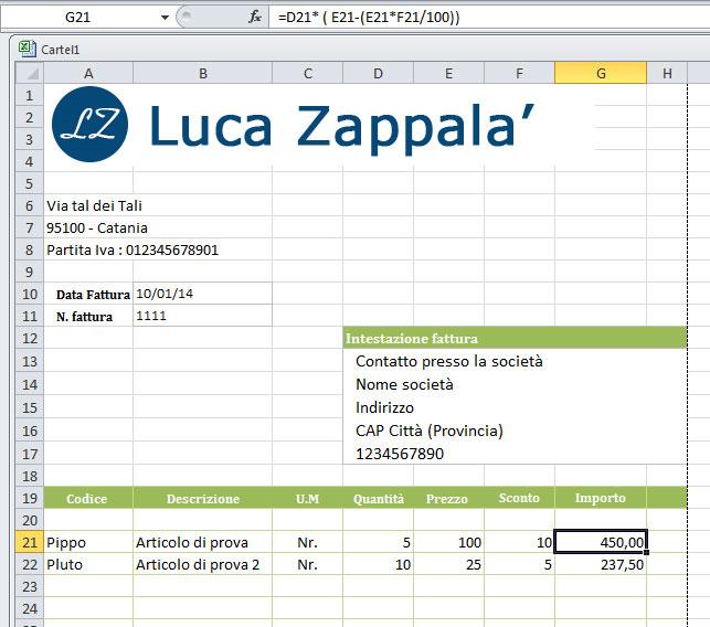 Fare una Fattura con Excel\u2013 Luca Zappala\u0027 \u2013 Consulente Informatico
