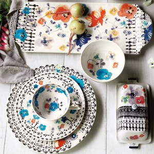 Anthropologie Floral Serving Platter