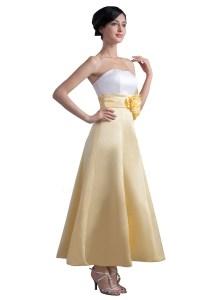 A-Line Strapless Tea Length Bridesmaid Dresses/Wedding ...