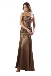 Sheath Strapless Long Satin Bridesmaid Dresses/Wedding