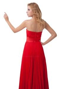 A-Line Pleated Long Red Chiffon Bridesmaid Dresses/Wedding ...