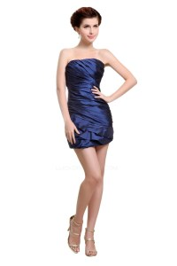 Short/Mini Strapless Navy Blue Bridesmaid Dresses/Wedding ...