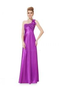 Empire One-Shoulder Purple Long Chiffon Bridesmaid Dresses ...