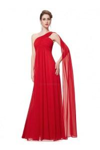 Empire One-Shoulder Long Red Chiffon Bridesmaid Dresses ...
