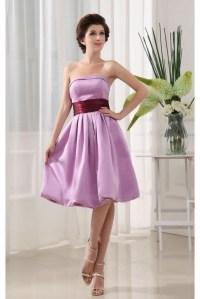 A-Line Strapless Short Purple Satin Bridesmaid Dresses ...