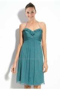 A-Line Halter Short Chiffon Bridesmaid Dresses/Wedding ...