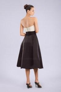 A-Line Strapless Black White Short Bridesmaid Dresses ...